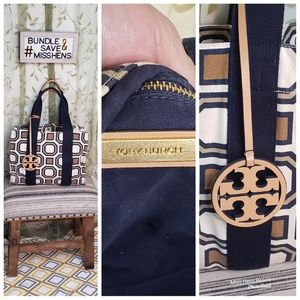 TORY BURCH CREAM WHITE NAVY OCTAGON CANVAS TOTE